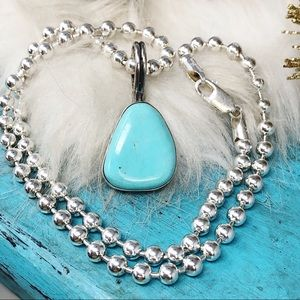 """Turquoise Pendant 20"""" Sterling Bead Ball Necklace"""